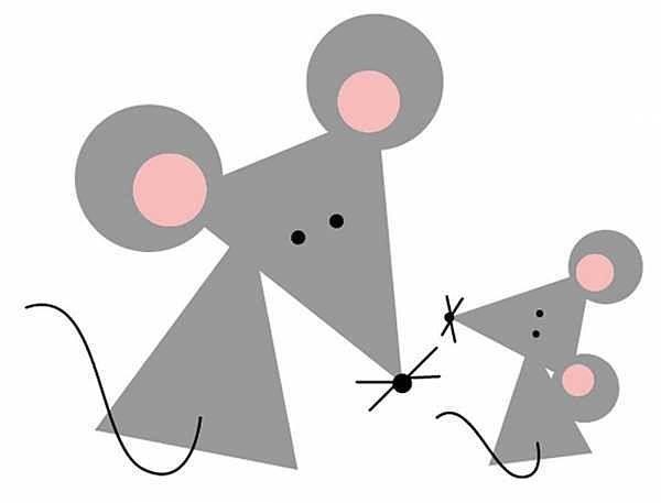 Серая бумажная мышка