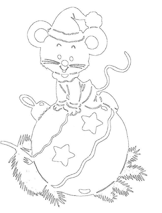 Новогодняя крыса вытынанка